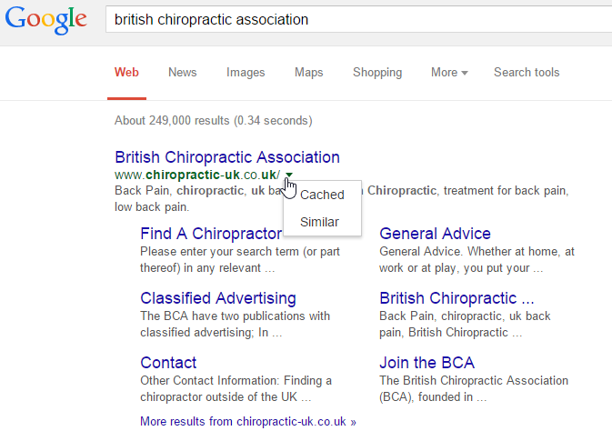 BCA search results