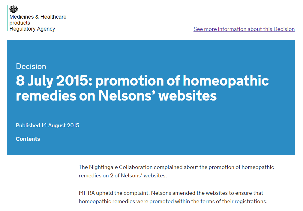 MHRA Nelsons decision 14 August 2015